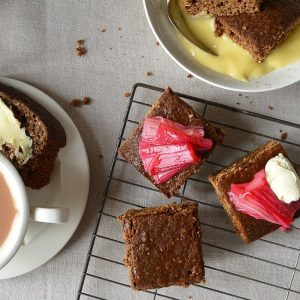 Northern Parkin Loaf with rhubarb and tea